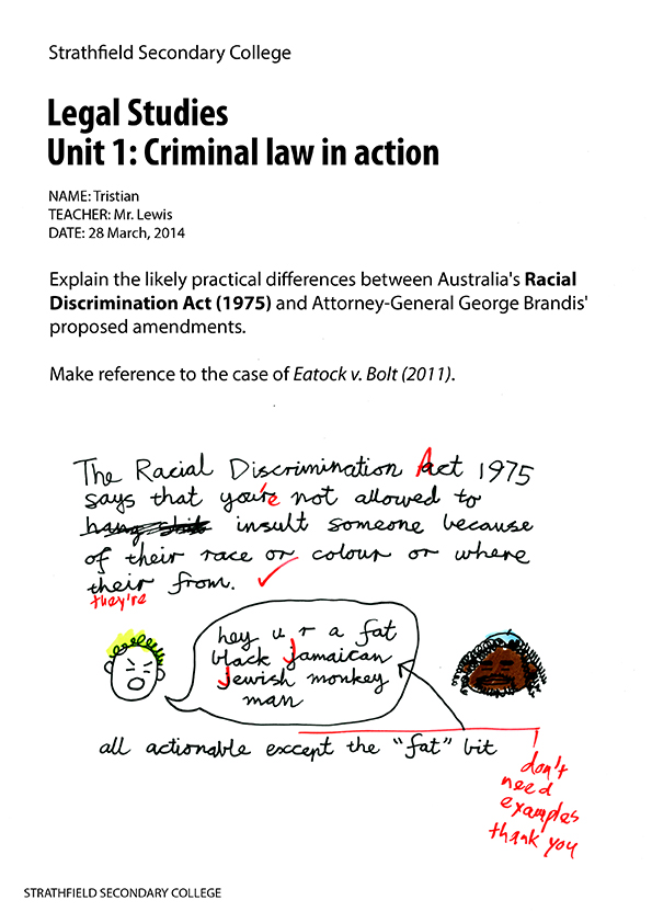 Tristian and the Racial Discrimination Act, pg 1