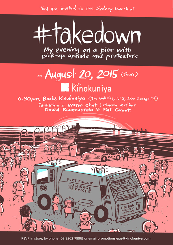 #takedown launch at Books Kinokuniya in Sydney