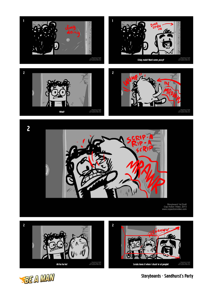 Be A Man storyboards