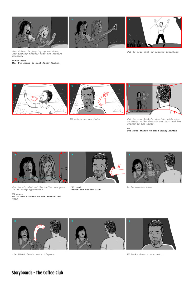 Storyboards for The Coffee Club advertisement.