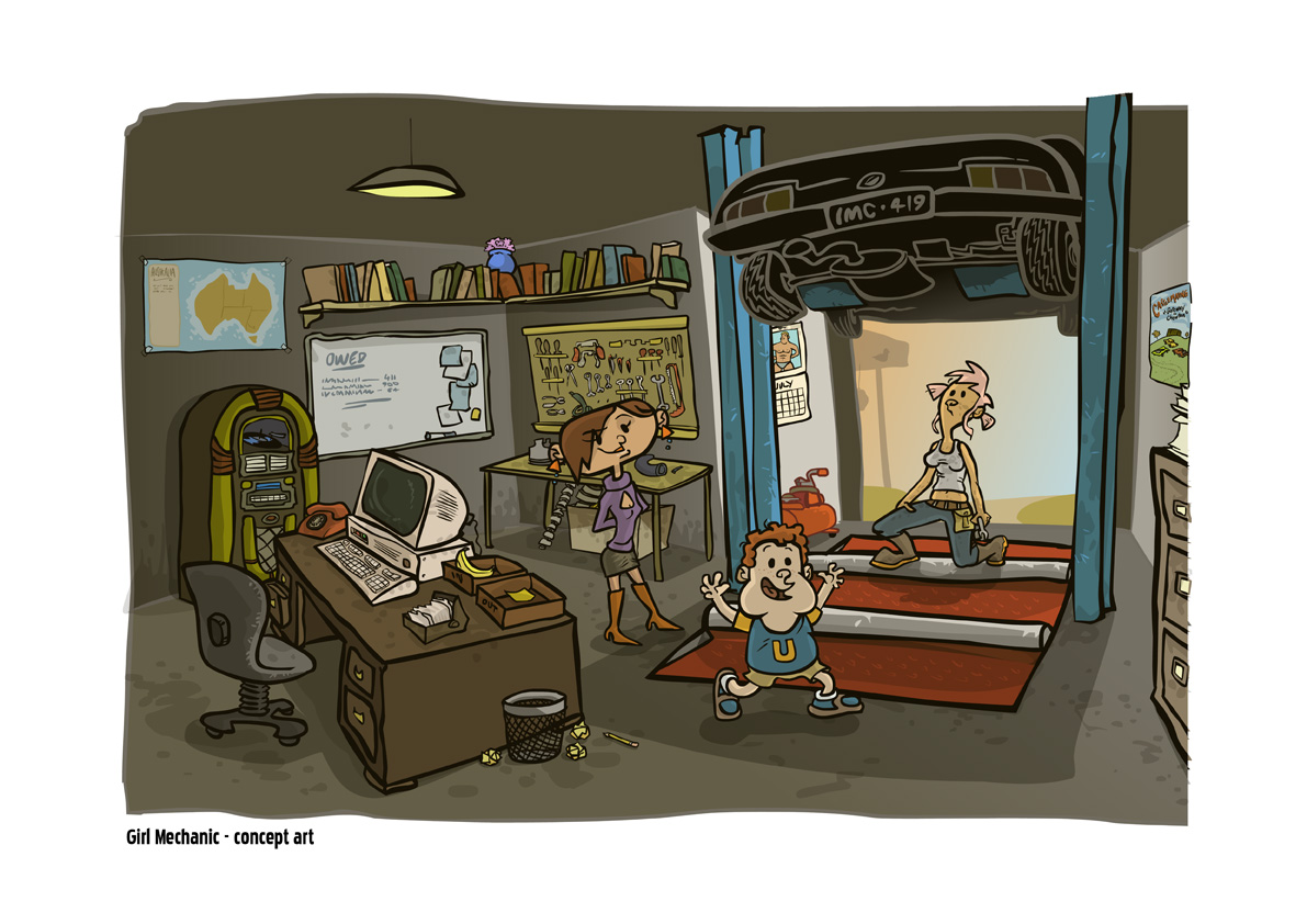 Pitch illustration for animated series Girl Mechanic